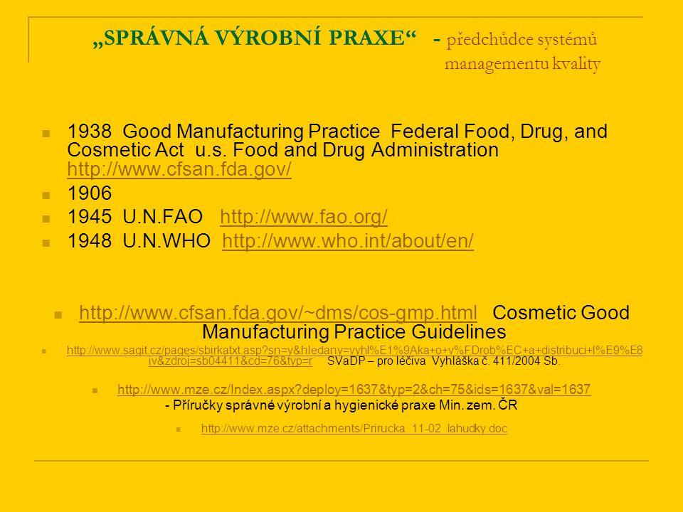 """""""SPRÁVNÁ VÝROBNÍ PRAXE - předchůdce systémů managementu kvality 1938 Good Manufacturing Practice Federal Food, Drug, and Cosmetic Act u.s."""
