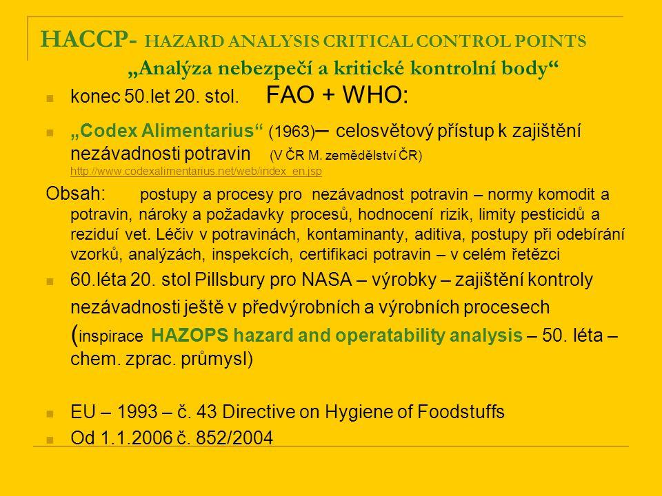 """HACCP- HAZARD ANALYSIS CRITICAL CONTROL POINTS """"Analýza nebezpečí a kritické kontrolní body konec 50.let 20."""