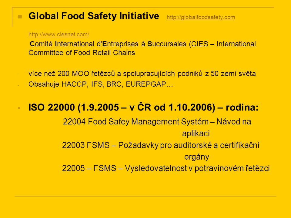 ISO 14001:2004 – systém environmentálního managementu Základními prvky normy jsou: Environmentální politika Plánování Zavedení a provoz Kontrola a nápravná opatření Přezkoumání vedením organizace http://www.iso.org/iso/en/prods-services/otherpubs/iso14000/model.pdf - model rodiny norem řady 14001 EMAS – The Eco-Management and Audit Scheme - Systém řízení podniku a auditu z hlediska ochrany ŽP - Nařízení EP a Rady 761/2001 - Usnesení vlády ČR č.