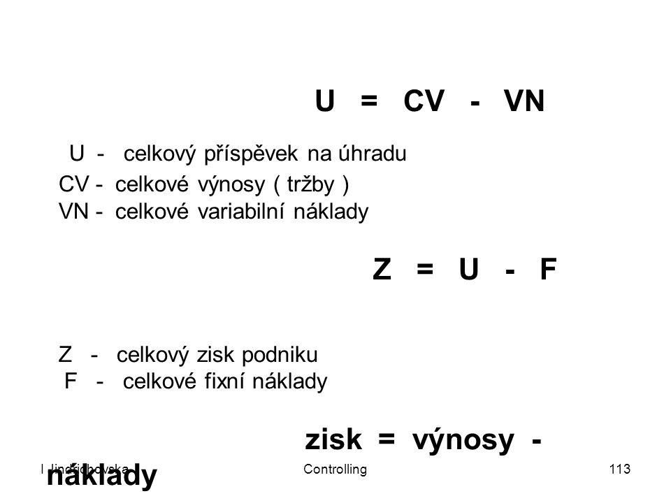 I JindrichovskaControlling113 U = CV - VN U - celkový příspěvek na úhradu CV - celkové výnosy ( tržby ) VN - celkové variabilní náklady Z = U - F Z -