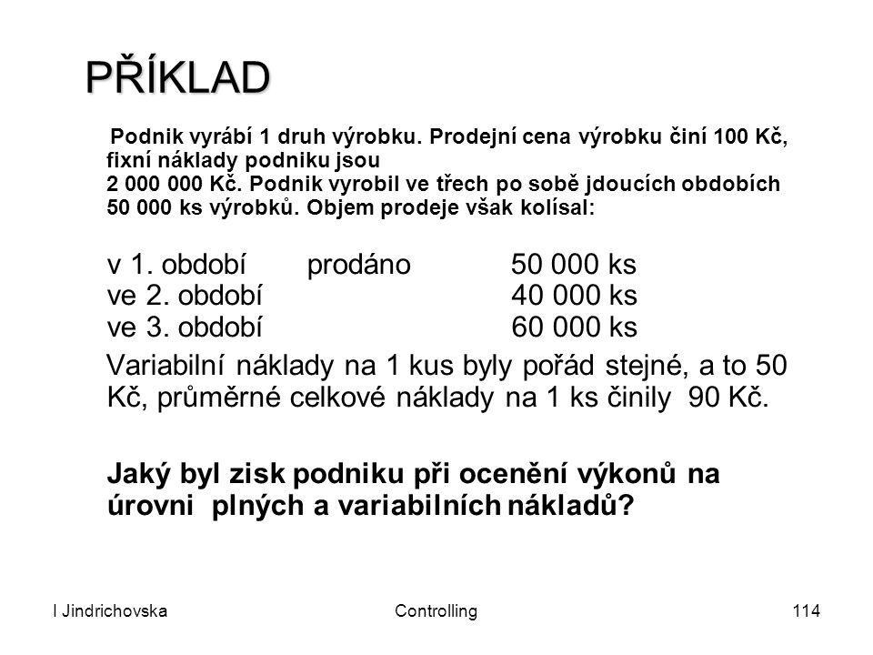 I JindrichovskaControlling114 PŘÍKLAD Podnik vyrábí 1 druh výrobku. Prodejní cena výrobku činí 100 Kč, fixní náklady podniku jsou 2 000 000 Kč. Podnik