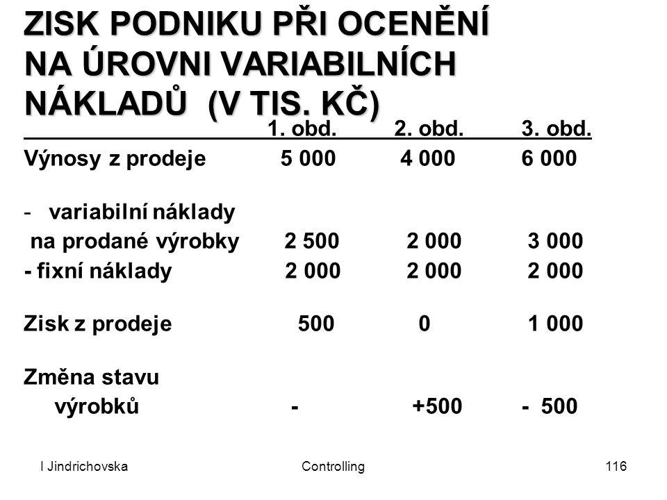I JindrichovskaControlling116 ZISK PODNIKU PŘI OCENĚNÍ NA ÚROVNI VARIABILNÍCH NÁKLADŮ (V TIS. KČ) 1. obd. 2. obd. 3. obd. Výnosy z prodeje 5 000 4 000