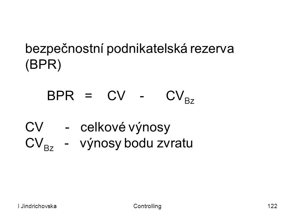 I JindrichovskaControlling122 bezpečnostní podnikatelská rezerva (BPR) BPR = CV - CV Bz CV - celkové výnosy CV Bz - výnosy bodu zvratu
