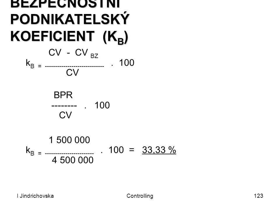 I JindrichovskaControlling123 BEZPEČNOSTNÍ PODNIKATELSKÝ KOEFICIENT (K B ) CV - CV BZ k B = -----------------------------. 100 CV BPR --------. 100 CV