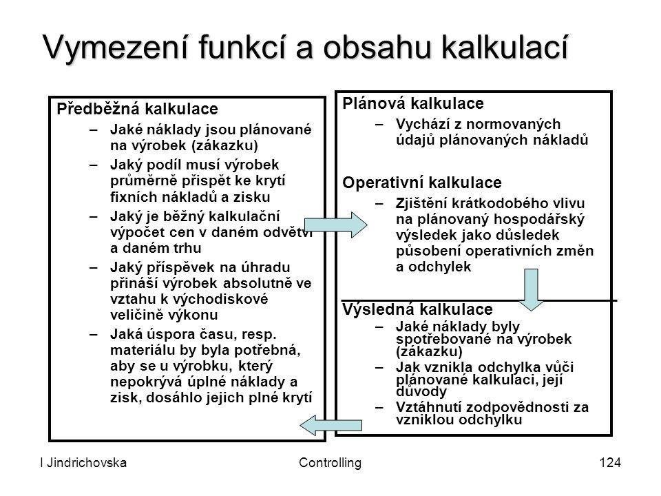 I JindrichovskaControlling124 Vymezení funkcí a obsahu kalkulací Předběžná kalkulace –Jaké náklady jsou plánované na výrobek (zákazku) –Jaký podíl mus
