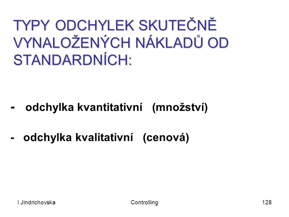 I JindrichovskaControlling128 TYPY ODCHYLEK SKUTEČNĚ VYNALOŽENÝCH NÁKLADŮ OD STANDARDNÍCH: - odchylka kvantitativní (množství) - odchylka kvalitativní