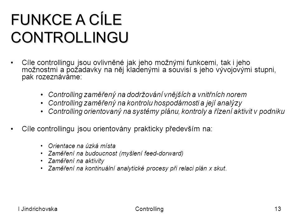 I JindrichovskaControlling13 Cíle controllingu jsou ovlivněné jak jeho možnými funkcemi, tak i jeho možnostmi a požadavky na něj kladenými a souvisí s