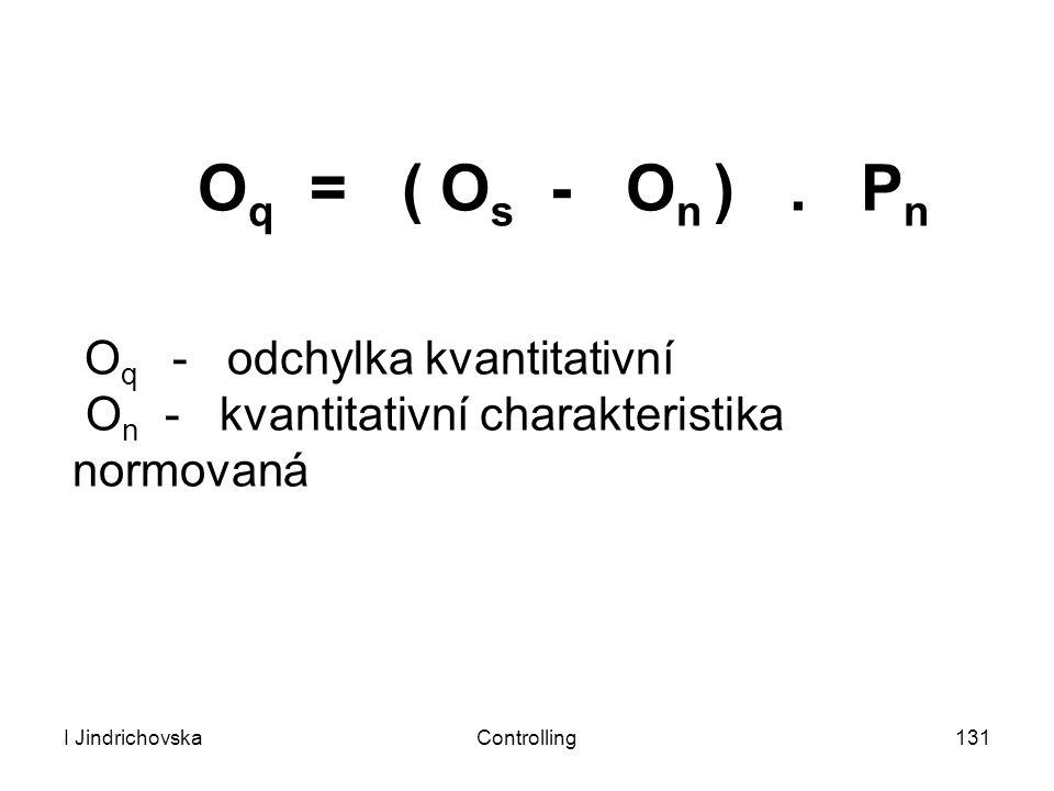I JindrichovskaControlling131 O q = ( O s - O n ). P n O q - odchylka kvantitativní O n - kvantitativní charakteristika normovaná