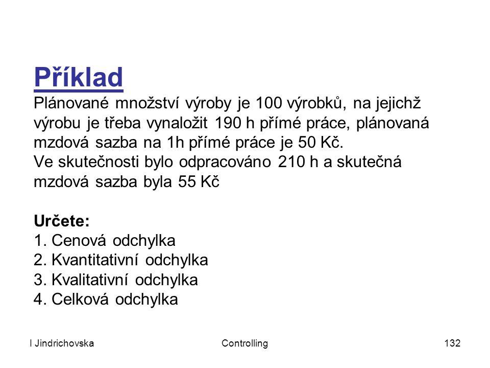 I JindrichovskaControlling132 Příklad Plánované množství výroby je 100 výrobků, na jejichž výrobu je třeba vynaložit 190 h přímé práce, plánovaná mzdo