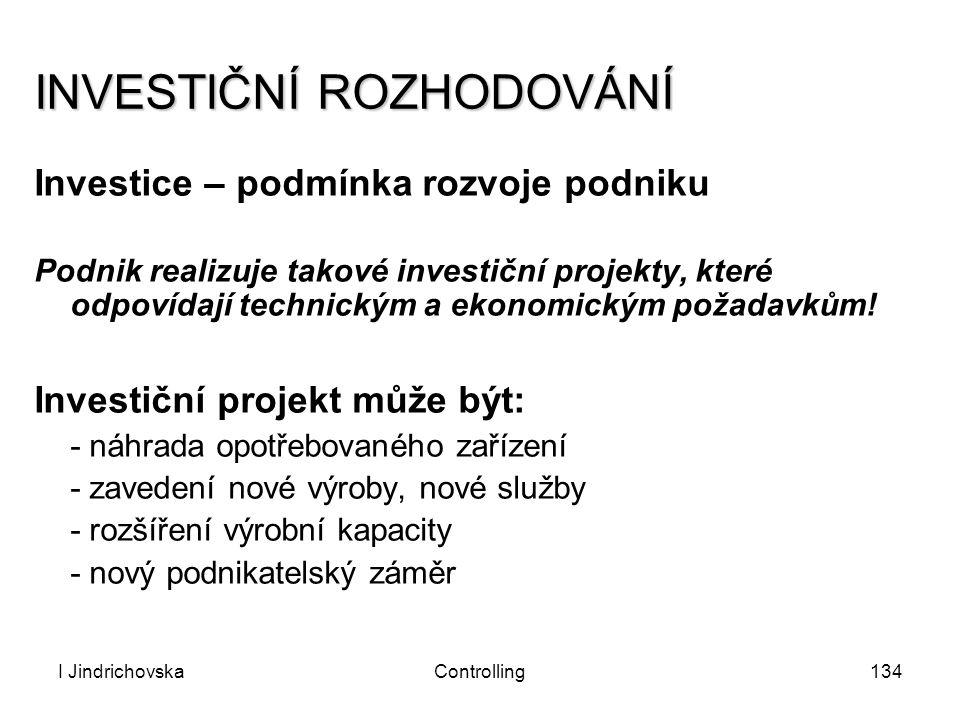 I JindrichovskaControlling134 INVESTIČNÍ ROZHODOVÁNÍ Investice – podmínka rozvoje podniku Podnik realizuje takové investiční projekty, které odpovídaj