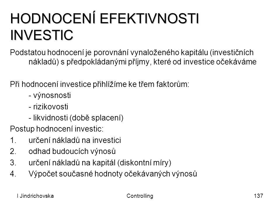 I JindrichovskaControlling137 HODNOCENÍ EFEKTIVNOSTI INVESTIC Podstatou hodnocení je porovnání vynaloženého kapitálu (investičních nákladů) s předpokl