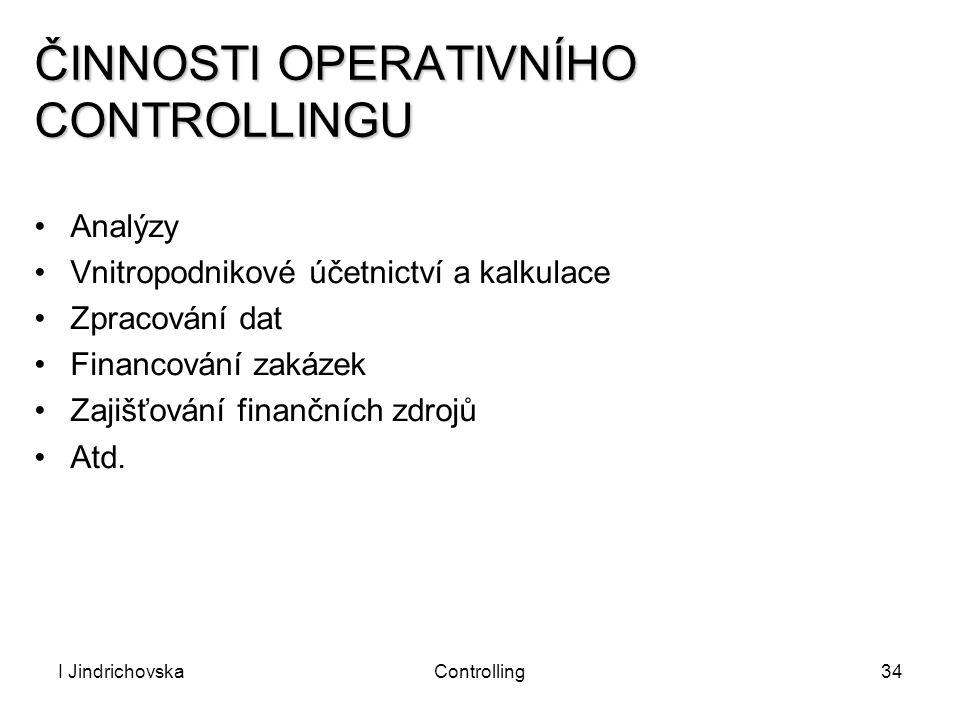 I JindrichovskaControlling34 ČINNOSTI OPERATIVNÍHO CONTROLLINGU Analýzy Vnitropodnikové účetnictví a kalkulace Zpracování dat Financování zakázek Zaji