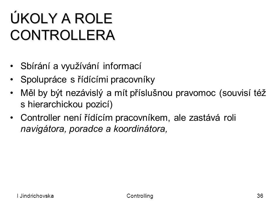 I JindrichovskaControlling36 ÚKOLY A ROLE CONTROLLERA Sbírání a využívání informací Spolupráce s řídícími pracovníky Měl by být nezávislý a mít příslu