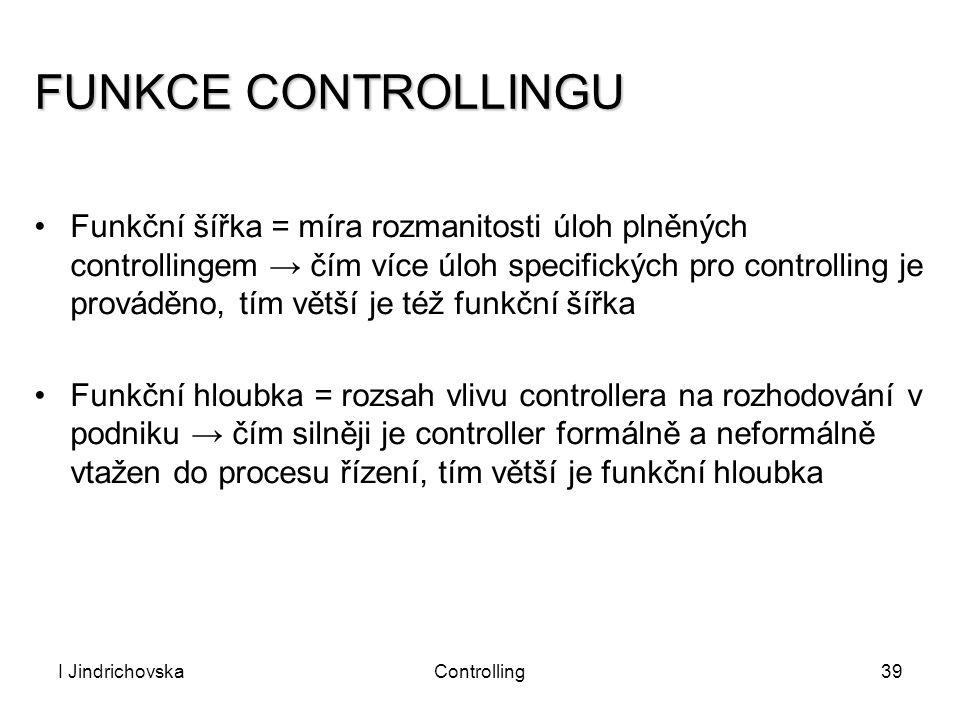 I JindrichovskaControlling39 FUNKCE CONTROLLINGU Funkční šířka = míra rozmanitosti úloh plněných controllingem → čím více úloh specifických pro contro