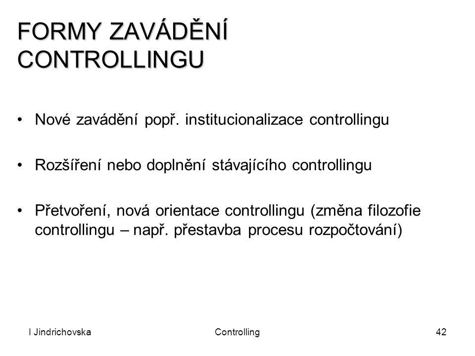 I JindrichovskaControlling42 FORMY ZAVÁDĚNÍ CONTROLLINGU Nové zavádění popř. institucionalizace controllingu Rozšíření nebo doplnění stávajícího contr