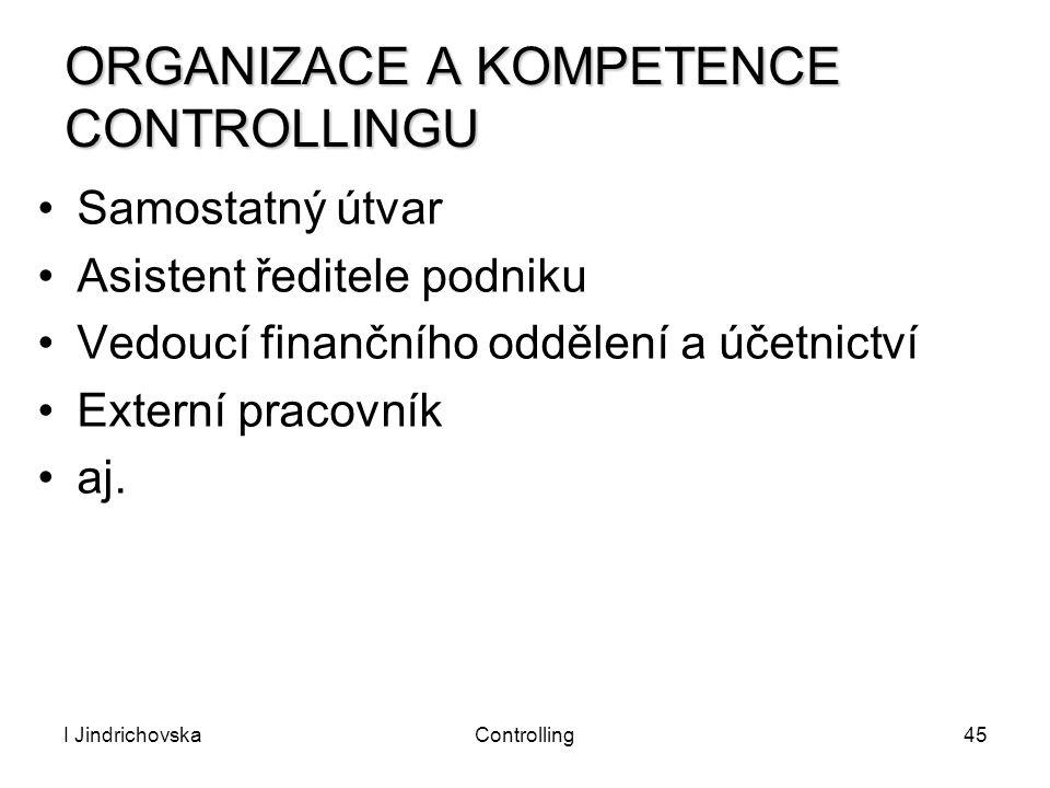 I JindrichovskaControlling45 ORGANIZACE A KOMPETENCE CONTROLLINGU Samostatný útvar Asistent ředitele podniku Vedoucí finančního oddělení a účetnictví