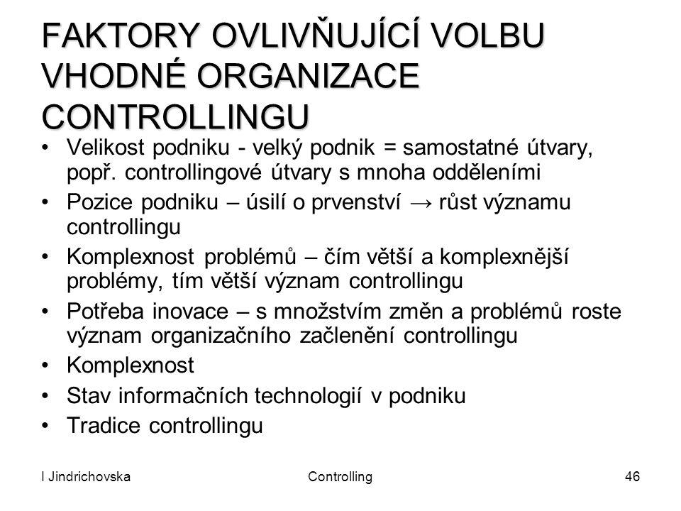 I JindrichovskaControlling46 FAKTORY OVLIVŇUJÍCÍ VOLBU VHODNÉ ORGANIZACE CONTROLLINGU Velikost podniku - velký podnik = samostatné útvary, popř. contr