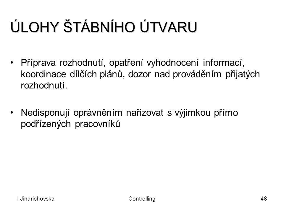 I JindrichovskaControlling48 ÚLOHY ŠTÁBNÍHO ÚTVARU Příprava rozhodnutí, opatření vyhodnocení informací, koordinace dílčích plánů, dozor nad prováděním