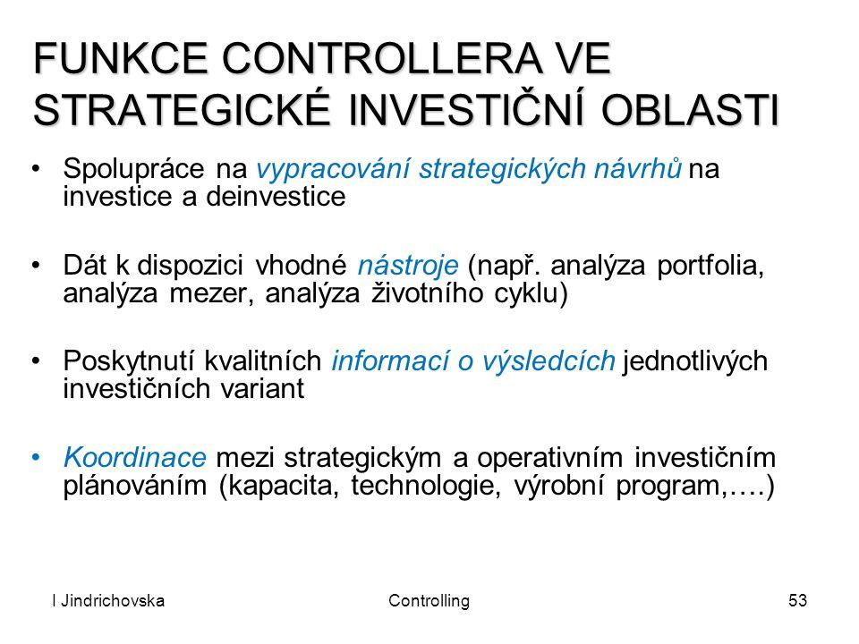 I JindrichovskaControlling53 FUNKCE CONTROLLERA VE STRATEGICKÉ INVESTIČNÍ OBLASTI Spolupráce na vypracování strategických návrhů na investice a deinve