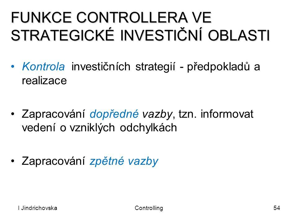 I JindrichovskaControlling54 FUNKCE CONTROLLERA VE STRATEGICKÉ INVESTIČNÍ OBLASTI Kontrola investičních strategií - předpokladů a realizace Zapracován