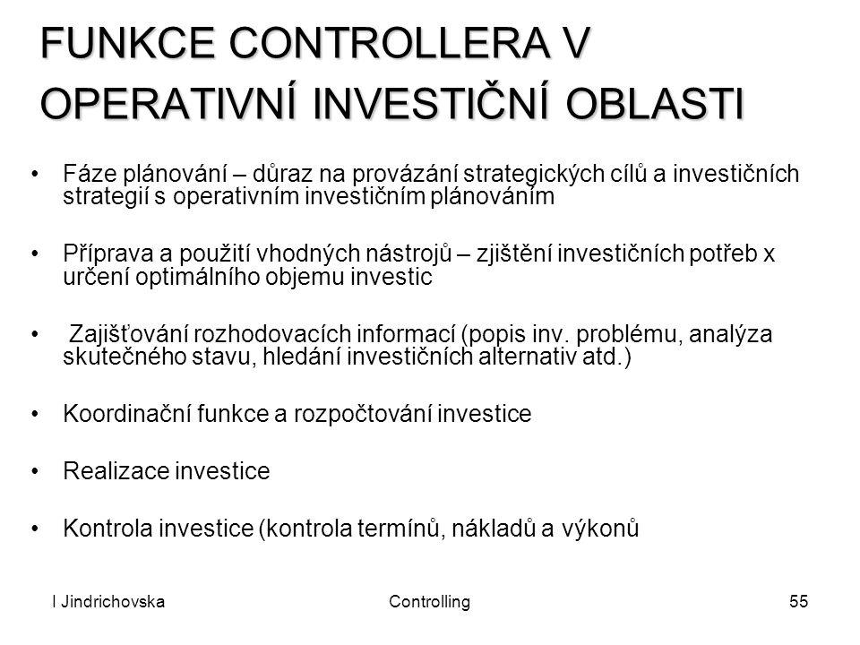 I JindrichovskaControlling55 FUNKCE CONTROLLERA V OPERATIVNÍ INVESTIČNÍ OBLASTI Fáze plánování – důraz na provázání strategických cílů a investičních