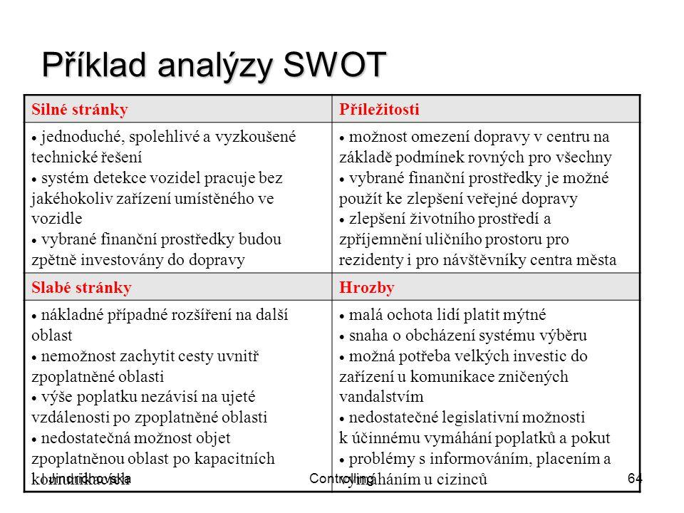 I JindrichovskaControlling64 Příklad analýzy SWOT Silné stránkyPříležitosti  jednoduché, spolehlivé a vyzkoušené technické řešení  systém detekce vo