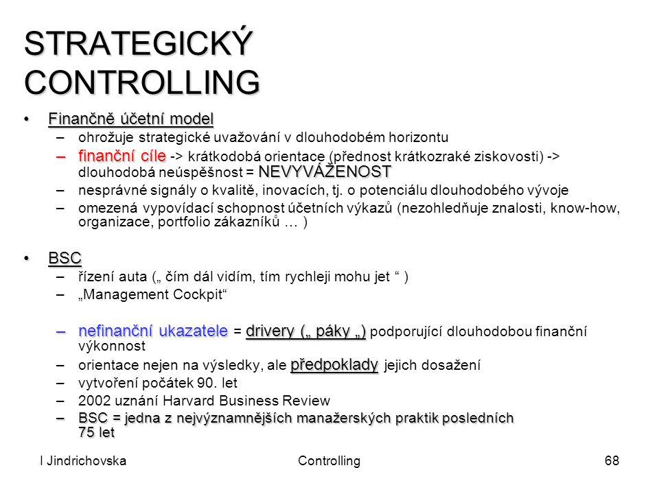 I JindrichovskaControlling68 STRATEGICKÝ CONTROLLING Finančně účetní modelFinančně účetní model –ohrožuje strategické uvažování v dlouhodobém horizont