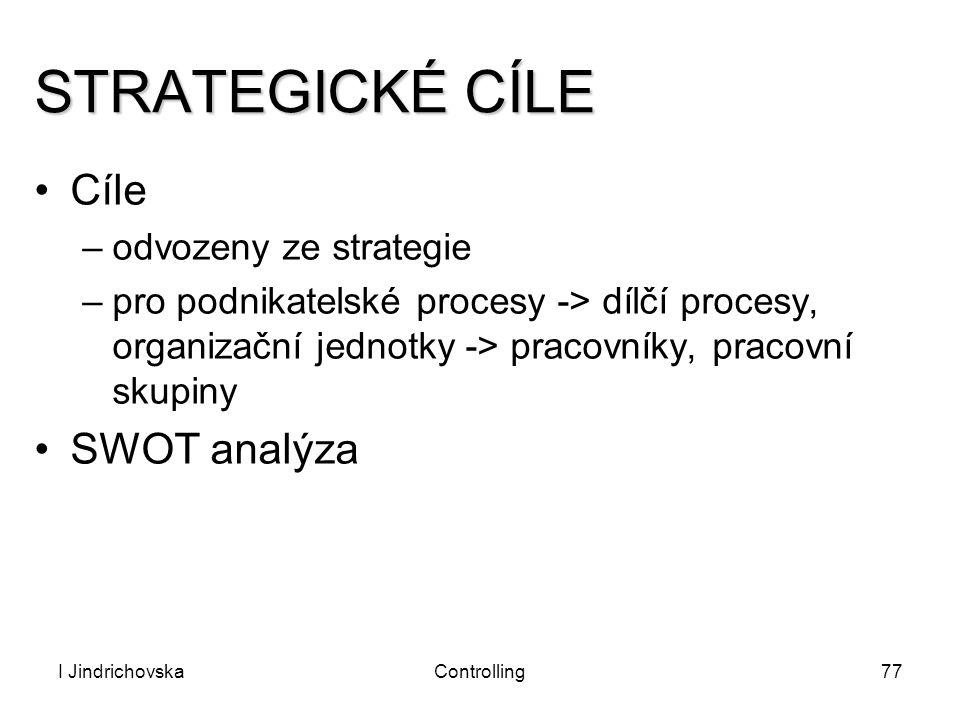 I JindrichovskaControlling77 STRATEGICKÉ CÍLE Cíle –odvozeny ze strategie –pro podnikatelské procesy -> dílčí procesy, organizační jednotky -> pracovn