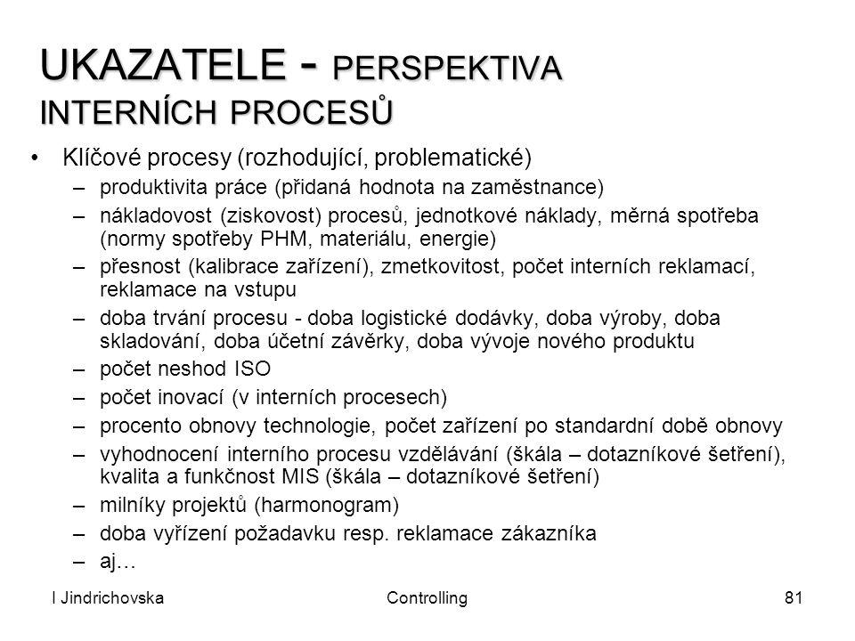I JindrichovskaControlling81 UKAZATELE - PERSPEKTIVA INTERNÍCH PROCESŮ Klíčové procesy (rozhodující, problematické) –produktivita práce (přidaná hodno