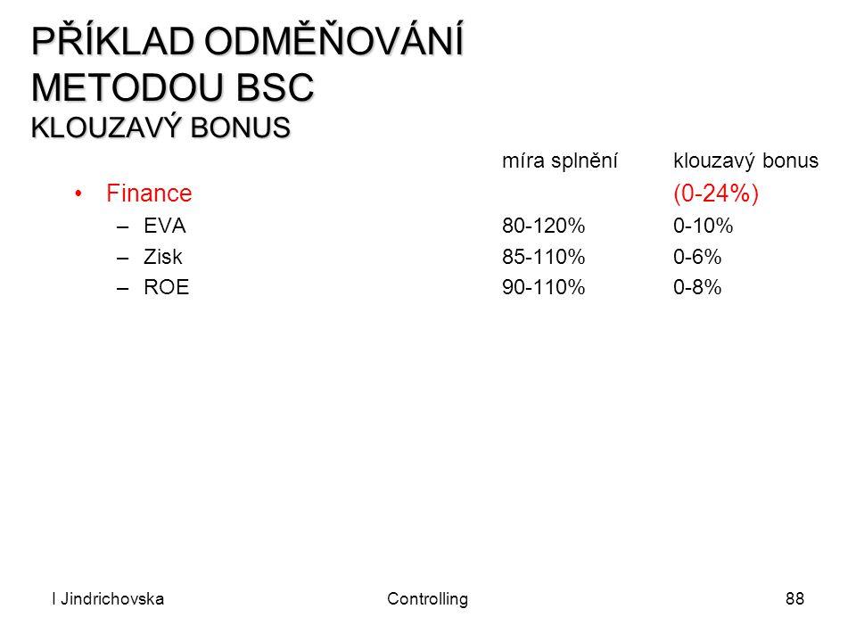 I JindrichovskaControlling88 PŘÍKLAD ODMĚŇOVÁNÍ METODOU BSC KLOUZAVÝ BONUS míra splněníklouzavý bonus Finance(0-24%) –EVA80-120%0-10% –Zisk85-110% 0-6