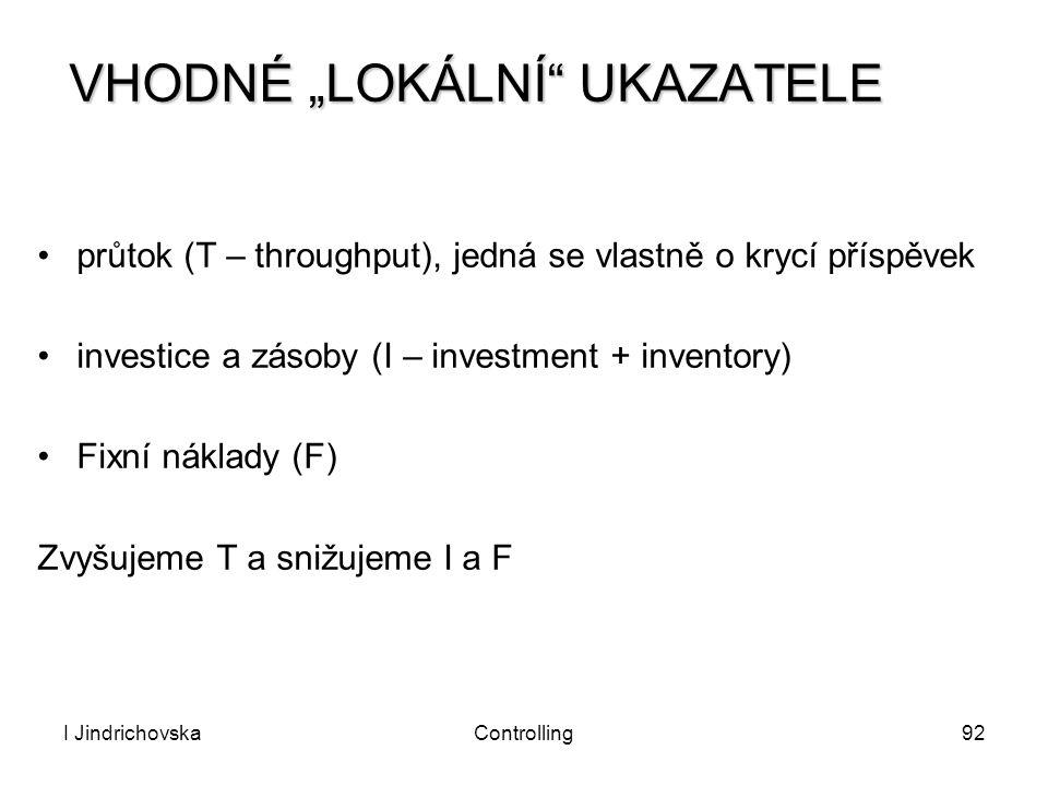 """I JindrichovskaControlling92 VHODNÉ """"LOKÁLNÍ"""" UKAZATELE průtok (T – throughput), jedná se vlastně o krycí příspěvek investice a zásoby (I – investment"""