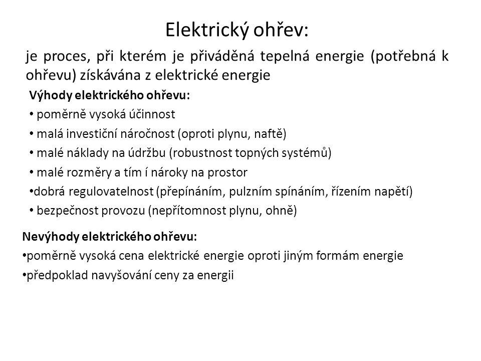 Elektrický ohřev: je proces, při kterém je přiváděná tepelná energie (potřebná k ohřevu) získávána z elektrické energie Výhody elektrického ohřevu: po