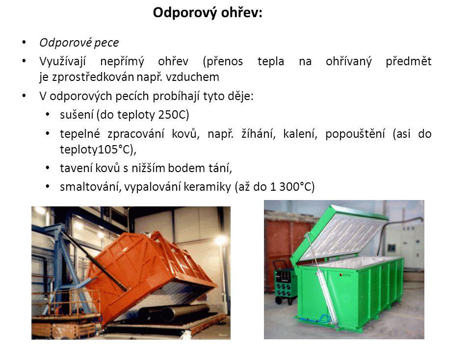 Odporové pece Využívají nepřímý ohřev (přenos tepla na ohřívaný předmět je zprostředkován např. vzduchem V odporových pecích probíhají tyto děje: suše