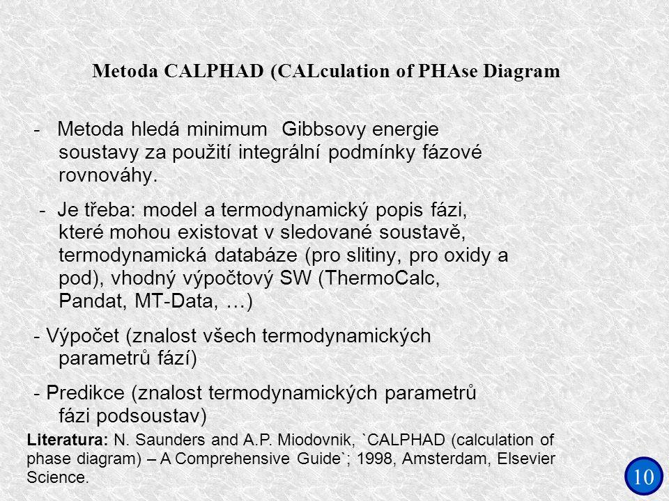 10 Metoda CALPHAD (CALculation of PHAse Diagram - Metoda hledá minimum Gibbsovy energie soustavy za použití integrální podmínky fázové rovnováhy. - Je