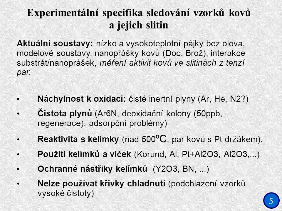 5 Experimentální specifika sledování vzorků kovů a jejich slitin Náchylnost k oxidaci: čisté inertní plyny (Ar, He, N2?) Čistota plynů (Ar6N, deoxidační kolony (50ppb, regenerace), adsorpční problémy) Reaktivita s kelímky (nad 500 ºC, par kovů s Pt držákem), Použití kelímků a víček (Korund, Al, Pt+Al2O3, Al2O3,...) Ochranné nástřiky kelímků (Y2O3, BN,...) Nelze používat křivky chladnutí (podchlazení vzorků vysoké čistoty) Aktuální soustavy: nízko a vysokoteplotní pájky bez olova, modelové soustavy, nanopřášky kovů (Doc.