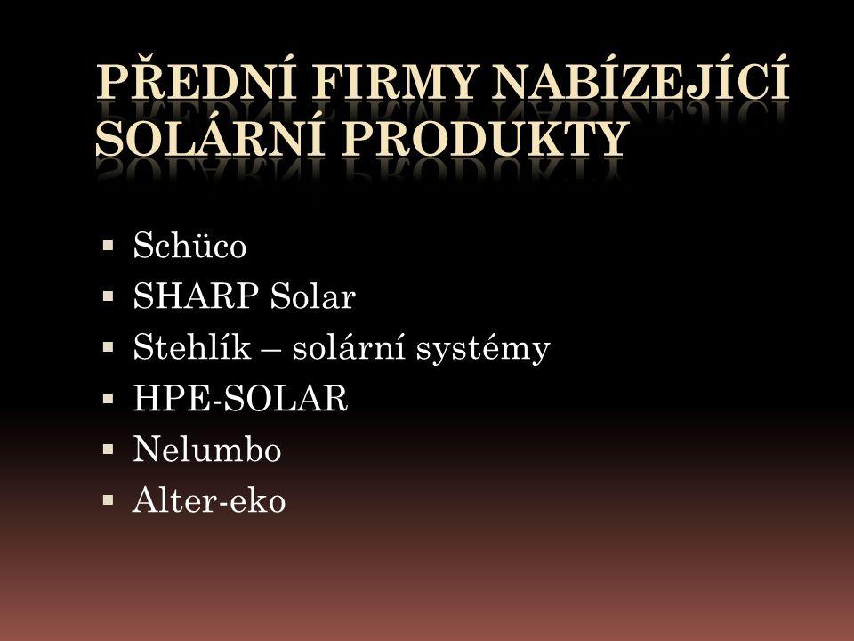  Schüco  SHARP Solar  Stehlík – solární systémy  HPE-SOLAR  Nelumbo  Alter-eko