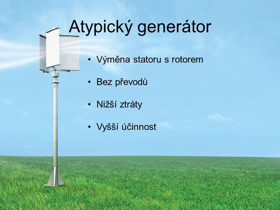 Atypický generátor Výměna statoru s rotorem Bez převodů Nižší ztráty Vyšší účinnost