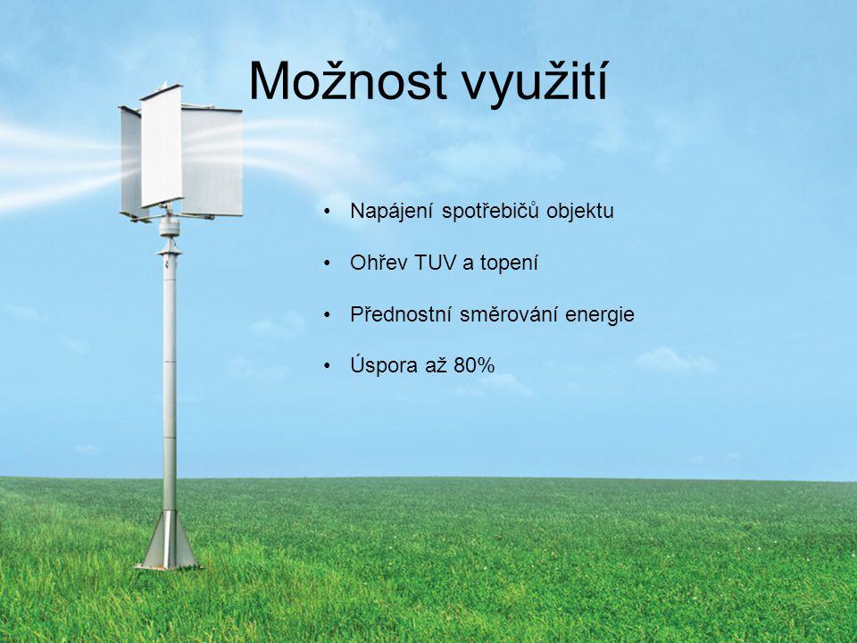 Možnost využití Napájení spotřebičů objektu Ohřev TUV a topení Přednostní směrování energie Úspora až 80%