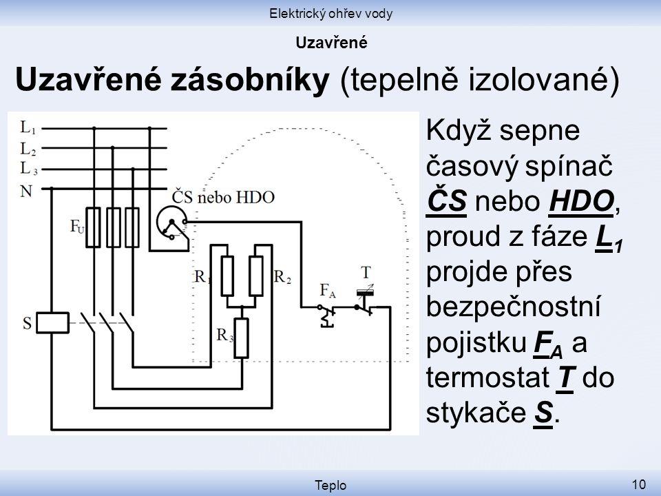 Elektrický ohřev vody Teplo 10 Uzavřené zásobníky (tepelně izolované) Když sepne časový spínač ČS nebo HDO, proud z fáze L 1 projde přes bezpečnostní pojistku F A a termostat T do stykače S.