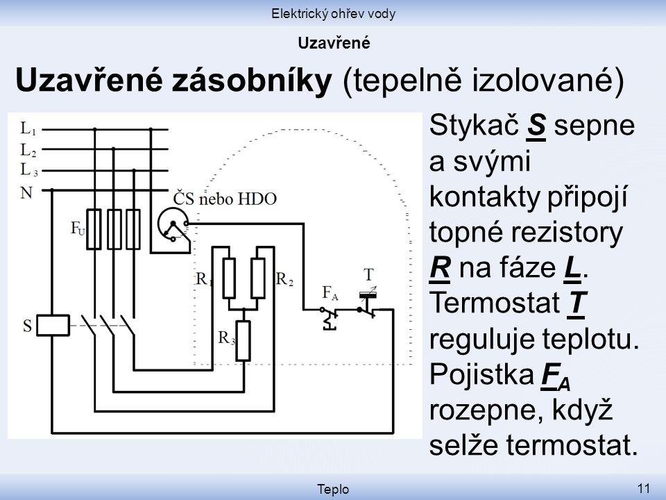 Elektrický ohřev vody Teplo 11 Uzavřené zásobníky (tepelně izolované) Stykač S sepne a svými kontakty připojí topné rezistory R na fáze L.