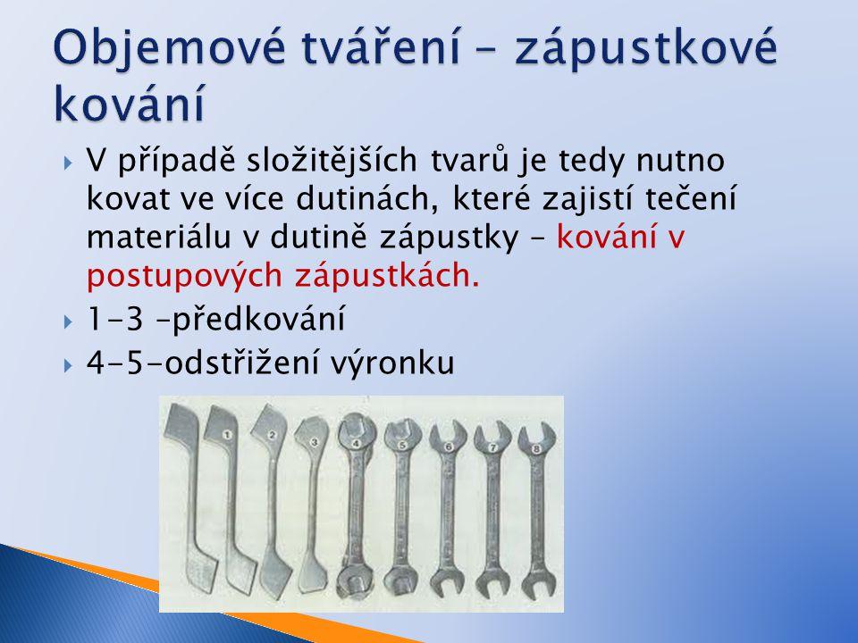  V případě složitějších tvarů je tedy nutno kovat ve více dutinách, které zajistí tečení materiálu v dutině zápustky – kování v postupových zápustkác