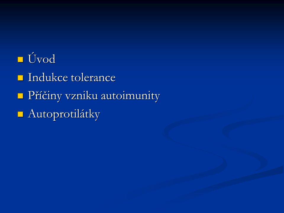 Úvod Úvod Indukce tolerance Indukce tolerance Příčiny vzniku autoimunity Příčiny vzniku autoimunity Autoprotilátky Autoprotilátky