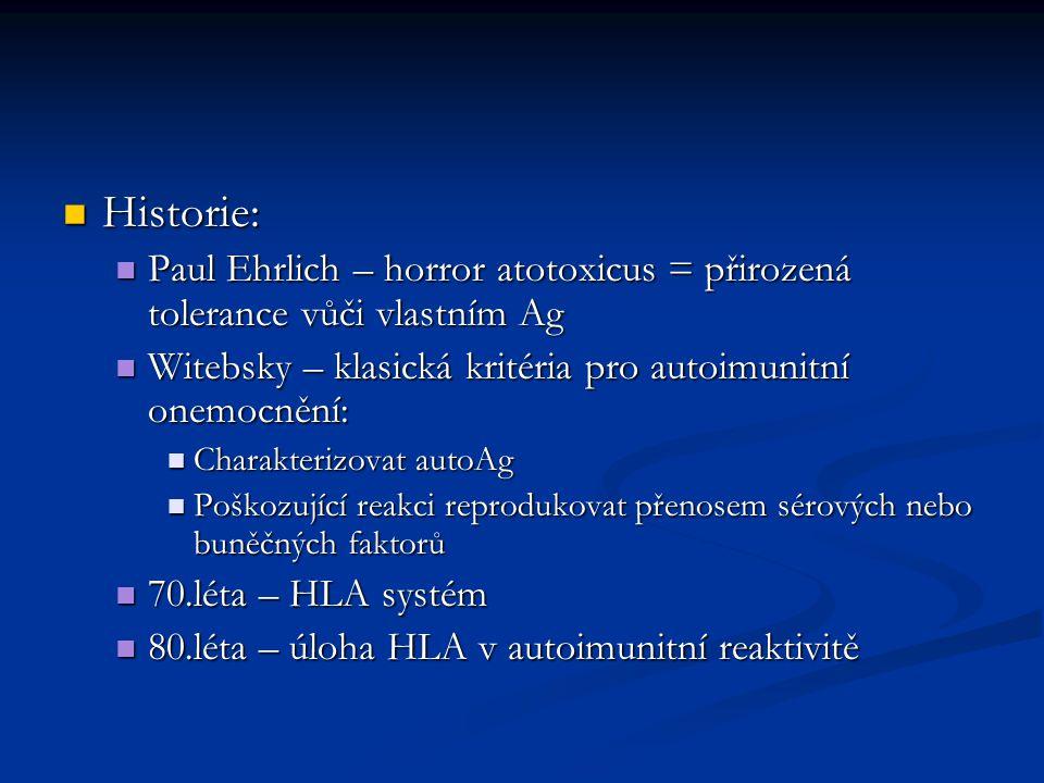 Historie: Historie: Paul Ehrlich – horror atotoxicus = přirozená tolerance vůči vlastním Ag Paul Ehrlich – horror atotoxicus = přirozená tolerance vůči vlastním Ag Witebsky – klasická kritéria pro autoimunitní onemocnění: Witebsky – klasická kritéria pro autoimunitní onemocnění: Charakterizovat autoAg Charakterizovat autoAg Poškozující reakci reprodukovat přenosem sérových nebo buněčných faktorů Poškozující reakci reprodukovat přenosem sérových nebo buněčných faktorů 70.léta – HLA systém 70.léta – HLA systém 80.léta – úloha HLA v autoimunitní reaktivitě 80.léta – úloha HLA v autoimunitní reaktivitě