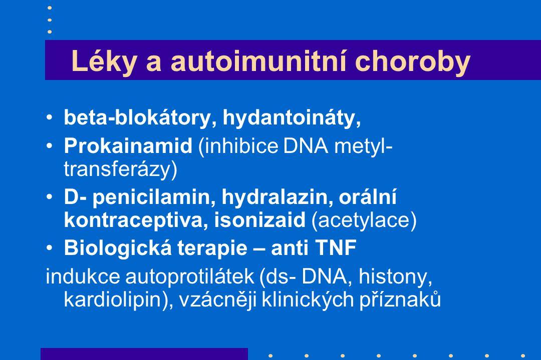 Léky a autoimunitní choroby beta-blokátory, hydantoináty, Prokainamid (inhibice DNA metyl- transferázy) D- penicilamin, hydralazin, orální kontracepti