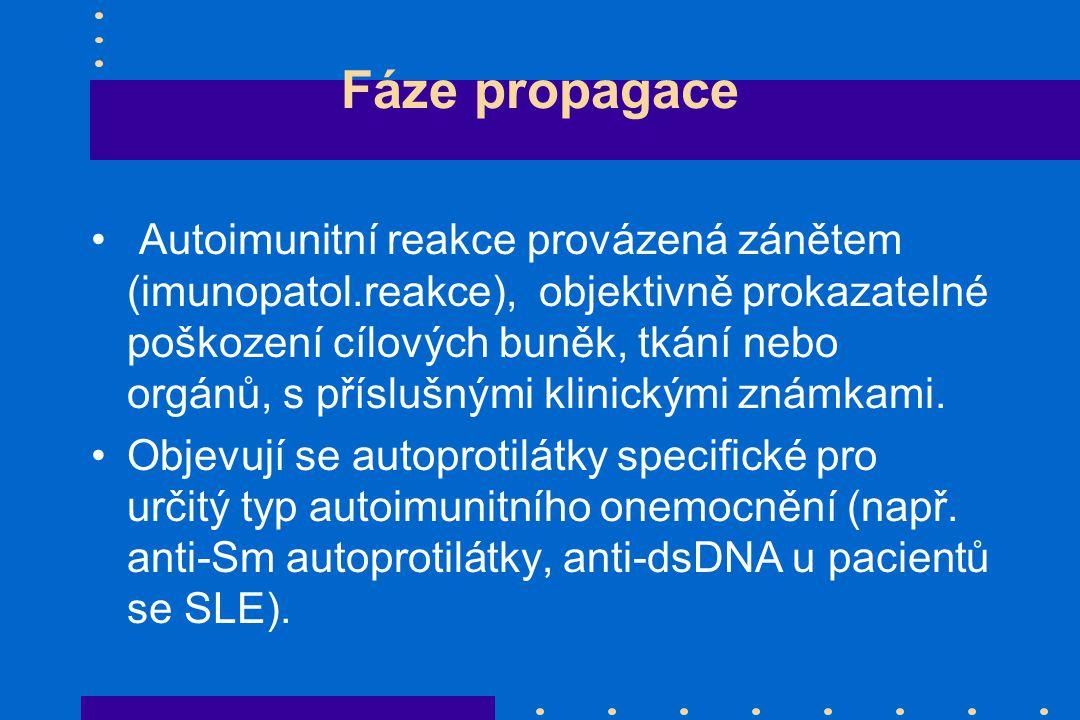Fáze propagace Autoimunitní reakce provázená zánětem (imunopatol.reakce), objektivně prokazatelné poškození cílových buněk, tkání nebo orgánů, s přísl