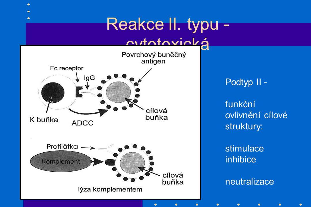 Reakce II. typu - cytotoxická Podtyp II - funkční ovlivnění cílové struktury: stimulace inhibice neutralizace