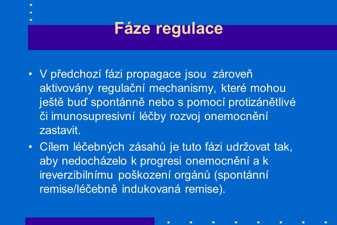 Fáze regulace V předchozí fázi propagace jsou zároveň aktivovány regulační mechanismy, které mohou ještě buď spontánně nebo s pomocí protizánětlivé či