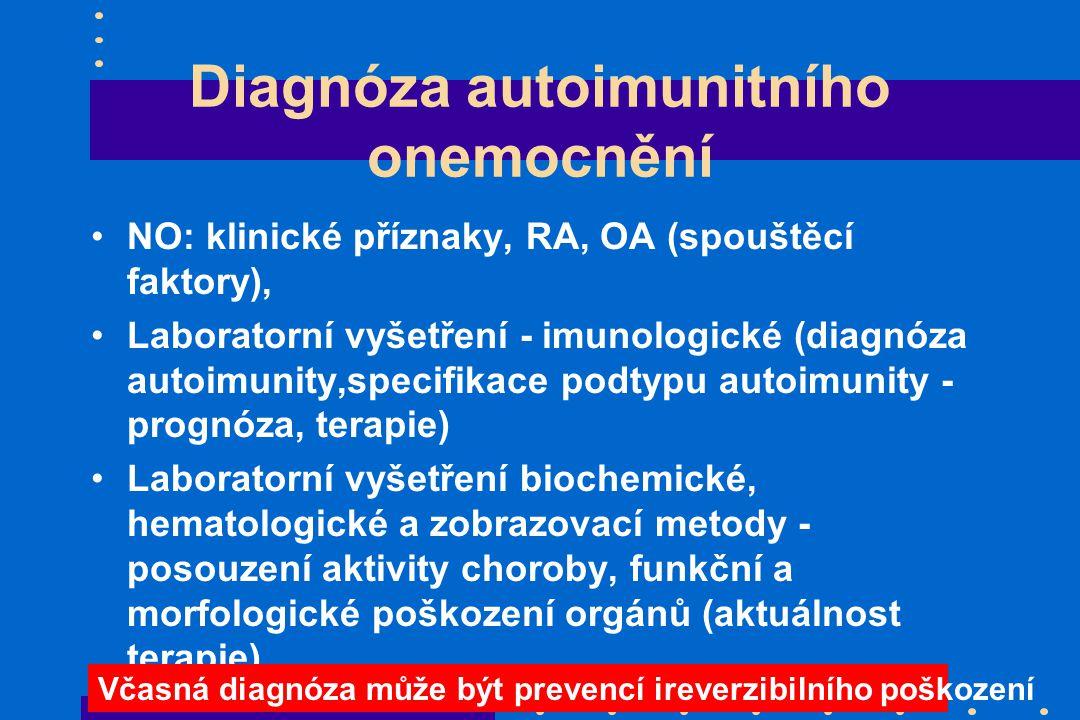 Diagnóza autoimunitního onemocnění NO: klinické příznaky, RA, OA (spouštěcí faktory), Laboratorní vyšetření - imunologické (diagnóza autoimunity,speci