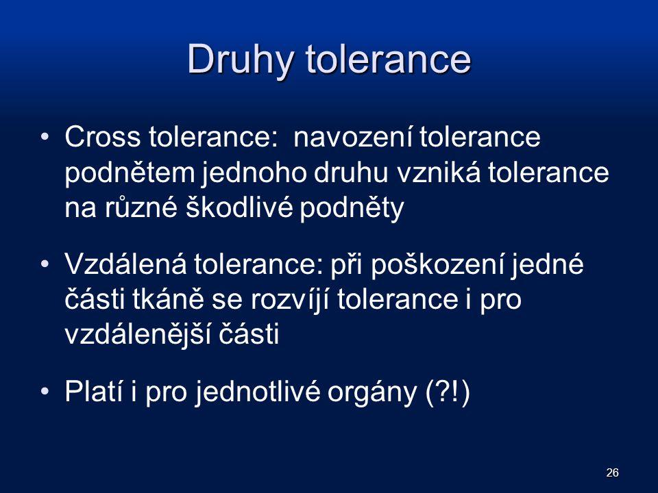Druhy tolerance Cross tolerance: navození tolerance podnětem jednoho druhu vzniká tolerance na různé škodlivé podněty Vzdálená tolerance: při poškozen