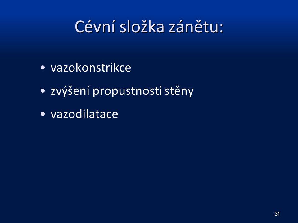Cévní složka zánětu: vazokonstrikce zvýšení propustnosti stěny vazodilatace 31